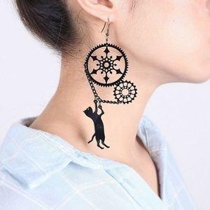 Black Steampunk Cat Earrings